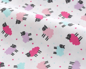 3926 - Colorful Sheep Flannel Cotton Fabric - 58 Inch (Width) x 1/2 Yard (Length)