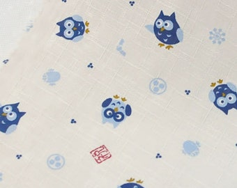 3982 - Japanese Night Owl Slubbed Cotton Fabric - 57 Inch (Width) x 1/2 Yard (Length)