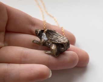 Squirrel Necklace - 3D Animal Necklace - Squirrel Jewelry - Brass Squirrel Necklace - Proceeds to Charity -  Squirrel Figurine -