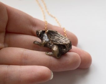 Squirrel Necklace - 3D Animal Necklace - Squirrel Jewelry - Brass Squirrel Necklace - Proceeds to Charity -  Squirrel Figurine