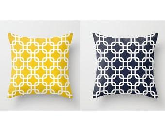 Nautical Pillow Covers Decorative Pillows Yellow Pillow Navy Pillow 8 Size choices