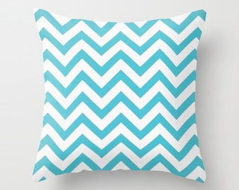 Chevron Pillow Covers Turquoise Pillow Cover Blue Pillow Nautical Pillow 8 Size Choices