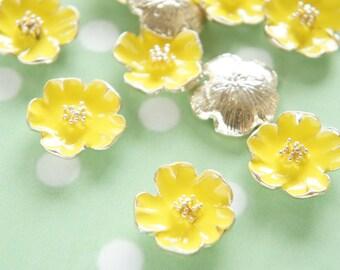 2 pcs Metal Poppy Flower Motif Cabochon (20mm) Yellow AZ104 (((LAST)))