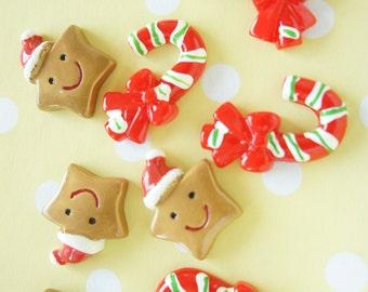 6 pcs Christmas Cabochon Set (Christmas star/Candy stick) DR453