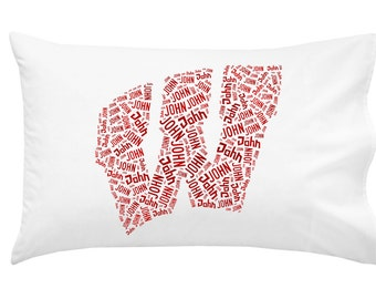 Personalized Pillowcase University of Wisconsin Badgers Pillow Room Decor Graduation Gift