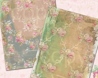 INSTANT DOWNLOAD - Paper No. 90 -  Printable Digital Collage Sheet - Romantic Floral Download
