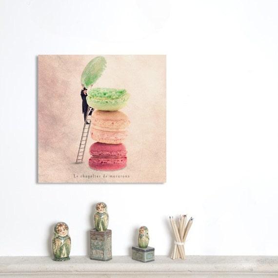 Wall Art Canvas, Photo Canvas Prints, Food photography, Paris Macarons, French Patisserie, Kitchen decor, Pastel decor, 20X20 (50x50 cm)