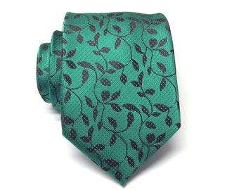Mens Ties. Green and Black Vine Mens Tie