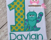Sully Inspired Applique 1st - First Birthday Shirt or Bodysuit Personalized appliqué - Mike Inspired