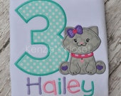 Birthday T-shirts - Kitten birthday Shirt - Birthday Shirts Kitty appliqué shirt - Personalized - Monogrammed - Boy or Girl