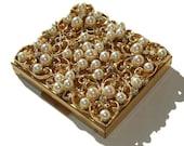Vintage Compact Pearls Rhinestones & Makeup Powder Sifter NIB