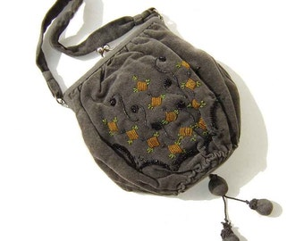 Vintage Flapper Bag Beaded Reticule Art Deco Gray Velvet Handbag & Change Purse