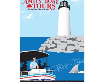 Jaws Poster Print - Amity Boat Tours 11x17 Digital Print - Jaws Ride Florida