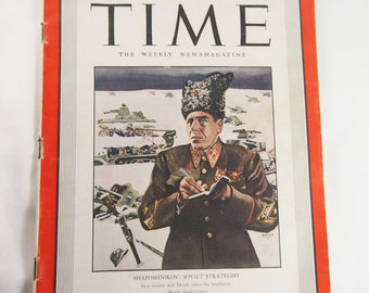 Vintage February 1942 Time Magazine Soviet Strategist WW2
