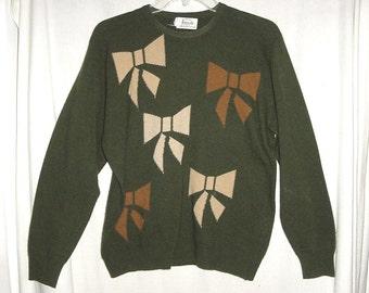 Vintage 80s Ladies Olive Cashmere Bow Pullover Sweater L Pringle Harrods