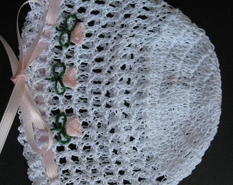 Crochet Baby Girl Hat Knit Newborn Cap Handmade Infant Beanie Christening Baby Bonnet with Roses Baptism Baby Hat Crochet Reborn Doll Hat