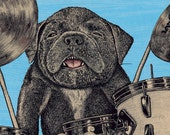 Puppy Crash 11x17 print signed and numbered. Backround color your choice. (yellow, green, blue or pink).