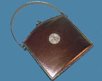 Vintage 60s Gold Leather Handbag Purse Porcelain Rhinestones