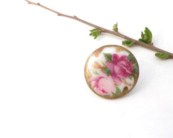 Vintage Hand Painted Porcelain Button Roses Pinks Green Gold