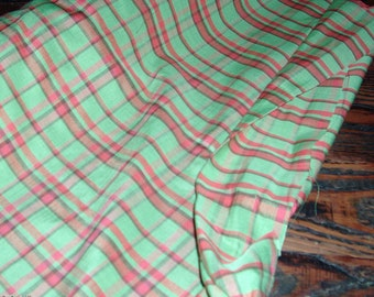 vibrant and vintage green/hot pink redish plaid fabric- 20 yards!