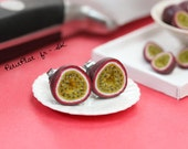 RESERVED for rylandsct ------- Passion Fruit Earrings, Miniature Tropical Fruit Jewelry for the Food Obsessed