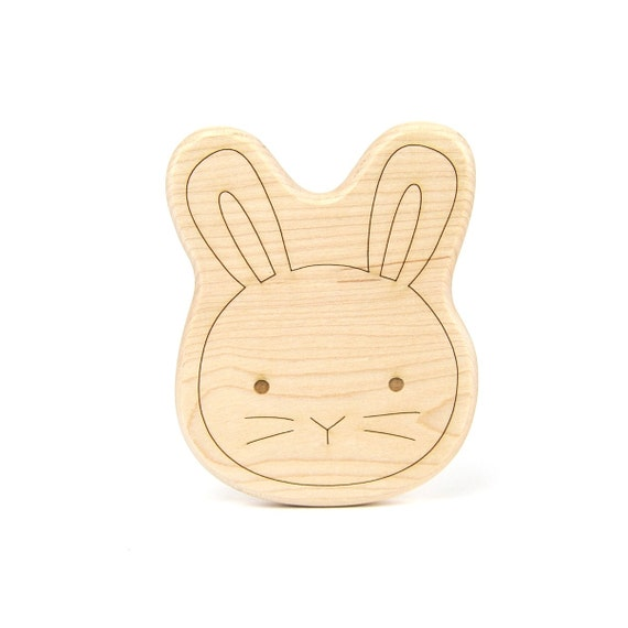 Bunny Wood Toy Teether - Wooden Teether - Easter Wooden Toy - Handmade Wooden Toy - Baby Teether - Wood Toy - Bunny Toy - Handmade Toy -TE25