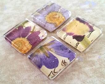 Purple Floral Magnet Set