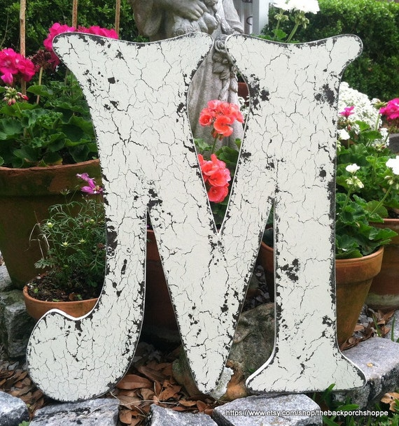 WEDDING GUEST BOOK Alternative - Letter M - Vintage Style Signs - 2 ft tall - Save the Date