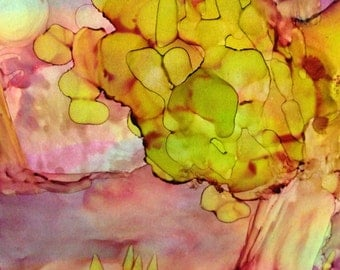 Late InThe Evening Original 7x5 Alcohol Ink Painting on Yupo