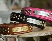 1.5 Inch Cone Stud Dog Collar // Leather Dog Collar // Studded Dog Collar // Engraved Dog Collar // Personalized Collar // Leather Collar