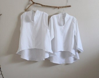 custom two pieces linen simplicity wavy top and blouse order / sleeveless / long sleeves / for summer and fall linen top and blouse