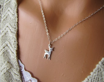Deer Necklace, Fawn Necklace, Sterling Silver Deer Jewelry