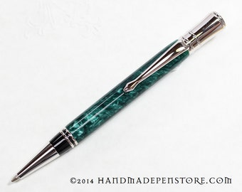 GREEN GRANITE acrylic pen with Rhodium HANDMADE in Parker Duofold Style (ball point)