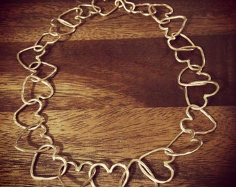 Heart Chakra Necklace - Handmade Hammered Texture Link Chain - One of a Kind - Jennifer Cervelli Jewelry