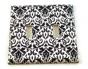 Double Light Switch Plate Light Switch Cover  Light Switchplates in  Navy Damask (136D)