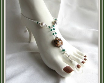 Anklet Barefoot Sandal, Swarovski White Pearl, Green Crystals, Brown, Body Jewelry,  Foot Jewelry size 8.5 to 9.5 adjustable 1 pair Item1042