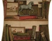 Library Books Horse Statue Woven Tapestry Cushion Cover Sham