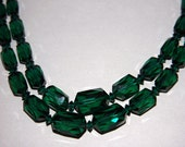 Vintage Emerald Green Austrian Crystal Necklace Double Strand Signed