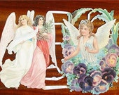 New Victorian Scrap Paper Pretty Angels Pansies Christmas Tree German