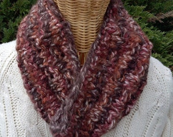 Cowl - Knitted - Neck Warmer - Women's or Men's -  Variegated Shades of Brown - Box Pattern