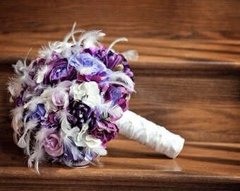 PURPLE HAZE Wedding Bouquet With Feather Accents