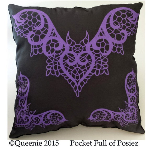Big Soft Throw Pillows : Lace Bat Design Purple Large Throw Pillow Soft Black Dot