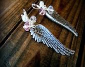 Angel Wings, Western Cowgirl Southwestern Boho Angel Wing & Crystal Dangle Earrings