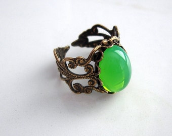 Green Opal Ring,  Opal ring, Adjustable ring, Filigree ring, Ox Brass, Bridesmaids gift,Statement ring, Cocktail ring.
