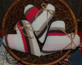 Beautiful Chocolate Pink Striped Sweater Valentine Heart Tucks Pillow Bowl Fillers Ornies
