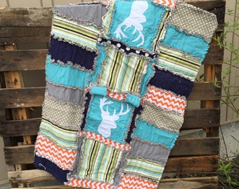 CAR SEAT CANOPY Rag Quilt With Deer Silhouette in Turquoise, Green, and Orange for Baby Boy Woodland Nursery - Woodland Mini Crib Quilt