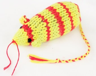 Knit Catnip Mouse Cat Toy in Bright Green, Yellow, and Red Cotton Yarn