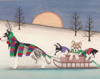 12 Christmas cards: Malamute family takes holiday sled ride / Lynch folk art