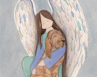 Bloodhound with angel / Lynch signed folk art print