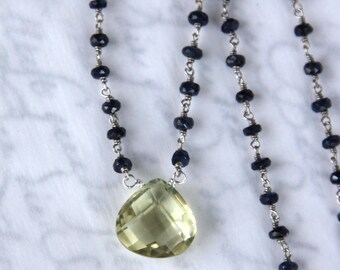 Lemon Quartz Necklace - with Blue Sapphires in Solid Sterling Silver